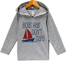Custom Party Shop Boy's Boat Hair Don't Care Summer Hoodie Pullover 3T Grey a... - $22.05