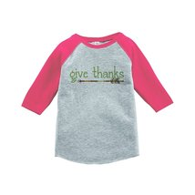 Custom Party Shop Baby's Give Thanks Thanksgiving 4T Pink Raglan - $20.58