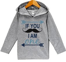 Custom Party Shop Baby Boy's Novelty Mustache Birthday Hoodie Pullover 3T Gre... - $22.05