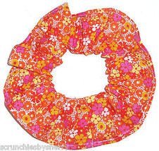 Floral Hair Scrunchie Orange Yellow PInk Fabric Scrunchies by Sherry Ponytail  - $6.99