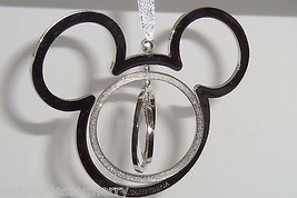 Disney World Mickey Mouse Ornament Silver Spinning Sparkle Christmas Hol... - $34.95