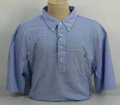 Polo Ralph Lauren Knit Oxford Shirt Mens XLT Harbor Blue Brown Pony Shor... - $42.05