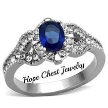 HCJ WOMEN'S STAINLESS STEEL 1 CT BLUE OVAL CUT BRIDAL CZ ENGAGEMENT RING... - $13.99