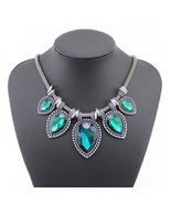 Vintage Statement Necklace Women Crystal Gem Ne... - $58,07 MXN