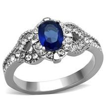MJS Women's 1 Carat Stainless Steel Blue Oval Cut CZ Engagement Ring Siz... - $12.49