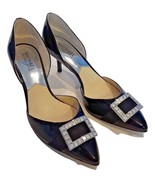 MICHAEL KORS WOMEN'S PATENT LEATHER JEWELED BUCKLE SHOES HEELS Sz US 7.5... - $55.33