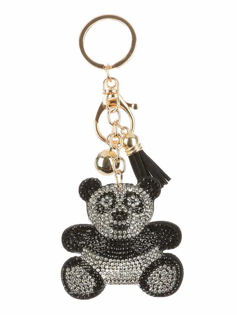 Tassel Bling Pave Crystal Panda Bear Pillow Key Chain Handbag Charm Key Fob