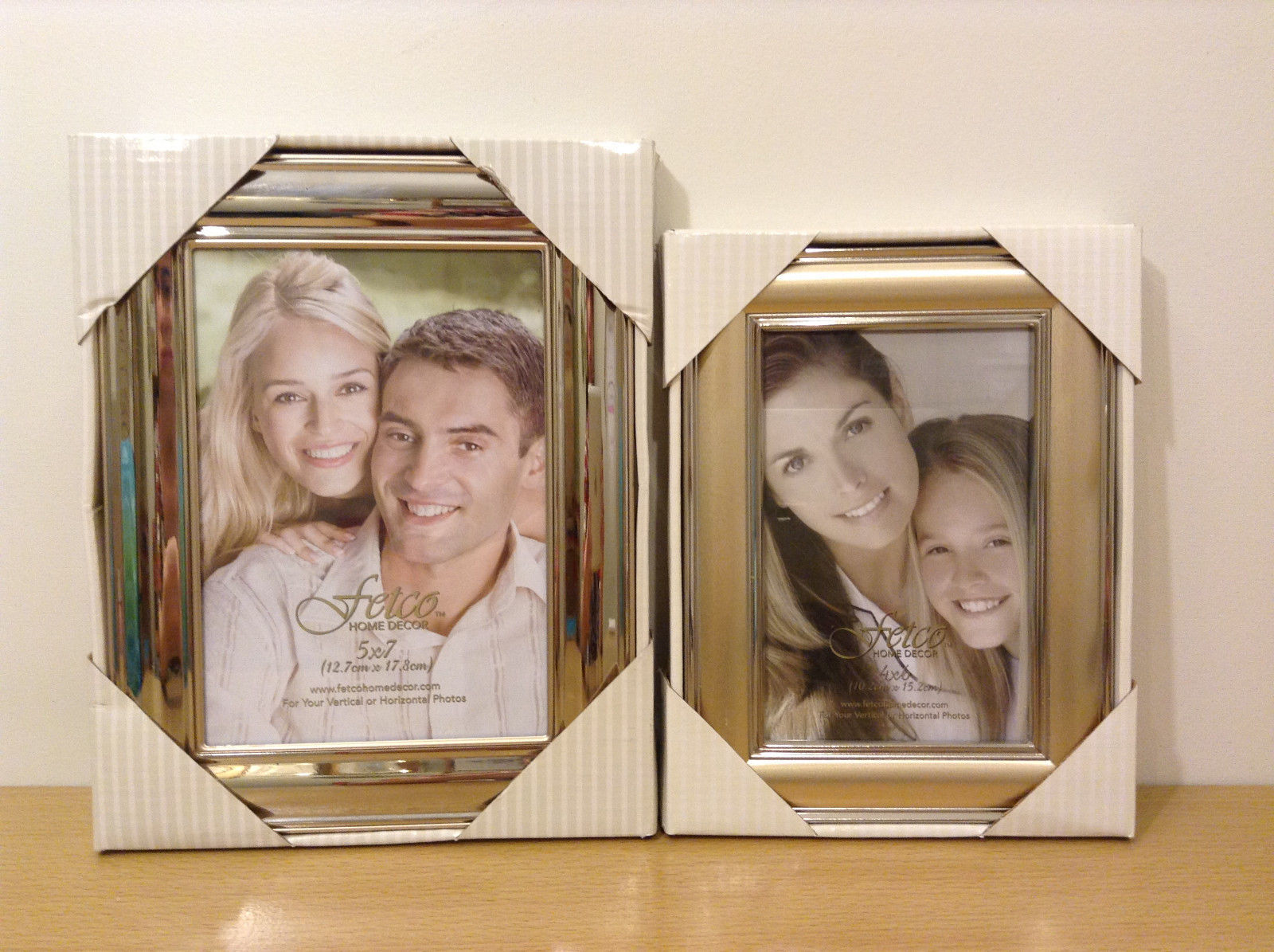 Lot of 2 New Fetco Home Decor Silver Gold Tone Matching Photo Picture Frames