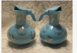 Mid Century Atomic Star Turquoise and Gold Syrup Pitcher - $37.37