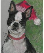 Boston Terrier Dog Art Holiday Christmas Pastel Solomon - $70.00