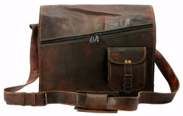 Men's Leather Messenger bag satchel vintage brown genuine leather Laptop... - $42.56