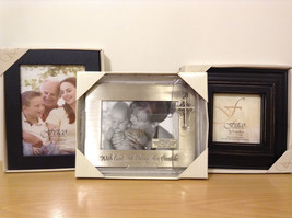 Lot of 3 New Fetco Home Decor Silver Tone Metal Black Wood Photo Picture Frames