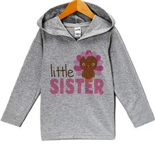 Custom Party Shop Baby Girl's Little Sister Thanksgiving Hoodie 24 Months Grey - $22.05