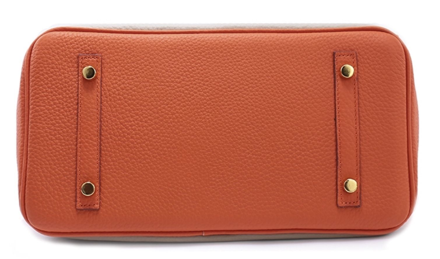 Color Block Pebbled Italian Leather 25cm Birkin Style Lock Satchel Handbag1998S