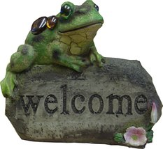 Welcome Stone Sign Frog Garden Ornament Color-Changing Solar Powered Light - $36.38