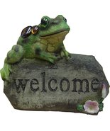 Welcome Stone Sign Frog Garden Ornament Color-Changing Solar Powered Light - $33.03