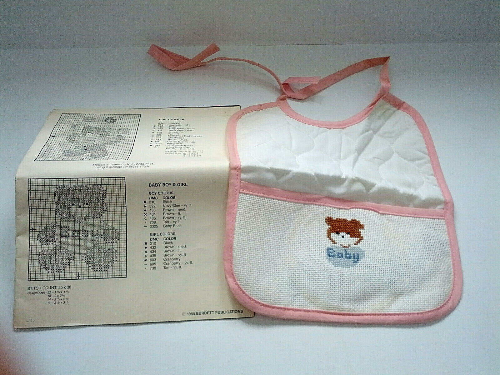 vintage cross stitch pink trim  baby bib partially finished with pattern booklet - $19.75