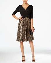 Sangria New Black & Gold Metallic Three-Quarter sleeves Lace Contrast Dr... - $33.65
