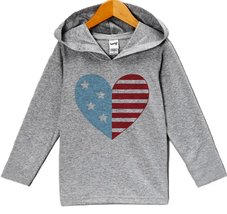 Custom Party Shop Boy's Flag Heart 4th of July Hoodie Pullover 3T Grey - $22.05
