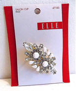 Elle 47185 Gold Clear Rhinestone and White Gator Style Hair Clip - $12.99