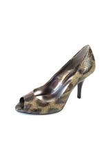 """7.5 NIB Alfani Tina Leo Snake Embossed Leopard Print Peep Toe Pumps 3.5""""... - $48.81"""