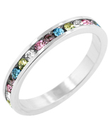Multi CZ White Gold Plated Channel Set Eternity... - $18.00