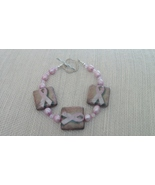 Breast Cancer Awareness Tan Pink Ribbon Bracelet - $23.50