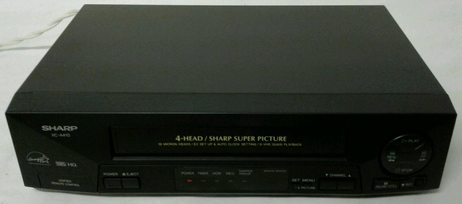 Sharp VC-A410 VHS VCR Video Cassette Recorder Player 4 Head S-VHS Quasi Playback
