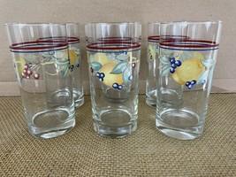 Crisa Corning Ware Fruit Abundance Gay Fad Water 16 oz Tumbler Glasses (6) - $28.71