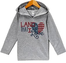 Custom Party Shop Boy's Land That I Love 4th of July Hoodie Pullover 3T Grey - $22.05