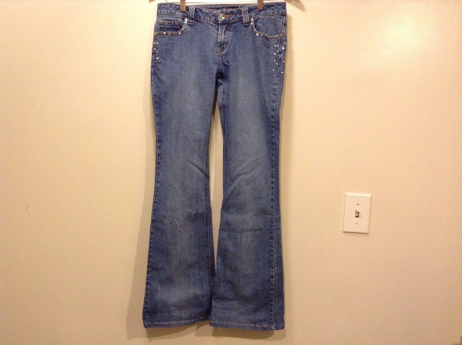 Great Condition Arizona Jeans Blue Denim Zipper Button 4 Pockets Studded