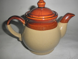 ceramic tea pot brown crazed all over great patina for your country kitchen - $17.95