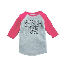 Custom Party Shop Beach Day Summer Raglan Tee 2T Pink - $20.58