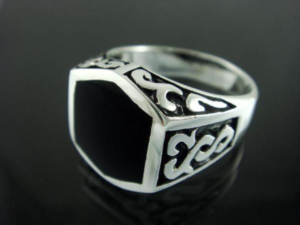 925 Sterling Silver Men's Onyx Celtic Irish Ring 12g