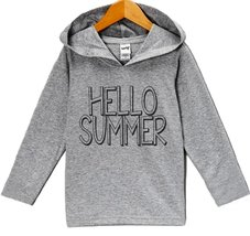 Custom Party Shop Unisex Hello Summer Hoodie Pullover 4T Grey and Navy - $22.05