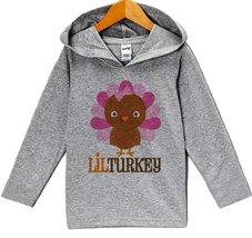 Custom Party Shop Girl's Lil Turkey Thanksgiving Hoodie 3T Grey - $22.05