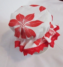 Christmas Poinsettia Mason Jar Bonnet Cover w/ red lace trim,Pkg of 2 - $7.00