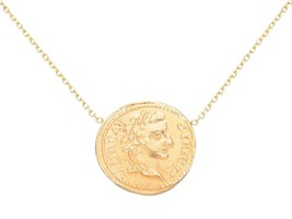 18K YELLOW GOLD NECKLACE, ROMAN COIN, EMPEROR AUGUSTUS, ROLO CHAIN MADE IN ITALY image 1