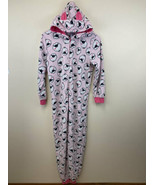 The Childrens Place XL 14 Pink Fleece Sheep Lamb One Piece Hooded Pajamas - $8.99