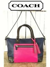 Coach Legacy Colorblock Mollie Satchel Tricolor/ fucshia/navy blue/Brown... - $74.25