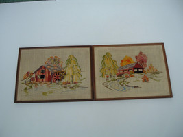 vintage finished crewel embroidery  framed pict... - $31.79