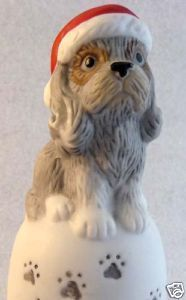Mournful SHAGGY DOG & PAWPRINTS Porcelain HOLIDAY Bell
