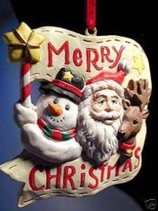 Primary image for Santa with Snowman Reindeer Christmas Banner Ornament!