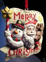 Santa with Snowman Reindeer Christmas Banner Ornament! - $9.99