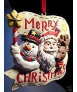 Santa with Snowman Reindeer Christmas Banner Ornament! - $13.16 CAD