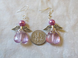 Handcrafted Pierced Earrings With Purple Angels - $7.99