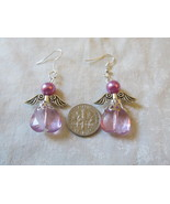 Handcrafted Pierced Earrings With Purple Angels - $6.00