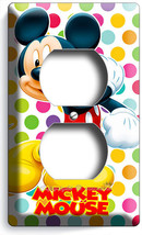 Mickey Mouse Colorful Polka Dots Duplex Outlet Wall Plate Cover Baby Nursery Art - $8.99