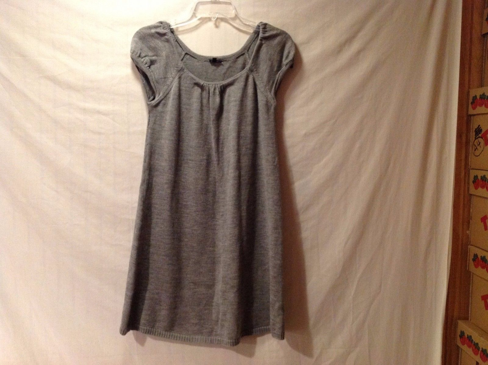 Women's JOSEPH Simple Gray Knit Cap Sleeve Dress