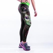 Green Woman with Ox Horn Spandex High Waist Leggings Yoga Cartoon Comic ... - $23.49